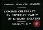 Image of Strand Theater Brooklyn New York City USA, 1931, second 8 stock footage video 65675035123