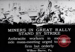 Image of coal mine workers on strike Wilkes-Barre Pennsylvania USA, 1919, second 3 stock footage video 65675035195