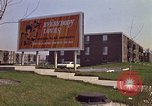 Image of billboard for Brunswick Apartments Gary Indiana USA, 1970, second 2 stock footage video 65675036749