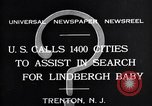 Image of wanted posters distributed for Charles A. Lindbergh Jr. Trenton New Jersey USA, 1932, second 1 stock footage video 65675036754