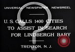 Image of wanted posters distributed for Charles A. Lindbergh Jr. Trenton New Jersey USA, 1932, second 5 stock footage video 65675036754