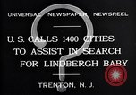 Image of wanted posters distributed for Charles A. Lindbergh Jr. Trenton New Jersey USA, 1932, second 7 stock footage video 65675036754