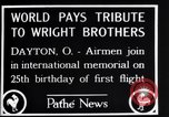 Image of 25th anniversary of first powered flight Dayton Ohio USA, 1928, second 5 stock footage video 65675036856