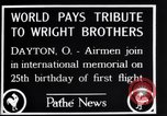 Image of 25th anniversary of first powered flight Dayton Ohio USA, 1928, second 12 stock footage video 65675036856