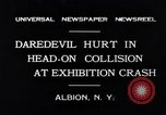 Image of head on car collision drivers playing chicken Albion New York USA, 1931, second 3 stock footage video 65675037106