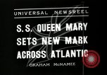 Image of S S Queen Mary makes record transatlantic crossing New York United States USA, 1936, second 9 stock footage video 65675037652