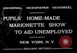 Image of puppet show fundraiser during depression New York United States USA, 1932, second 1 stock footage video 65675037689