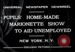 Image of puppet show fundraiser during depression New York United States USA, 1932, second 2 stock footage video 65675037689