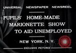 Image of puppet show fundraiser during depression New York United States USA, 1932, second 3 stock footage video 65675037689