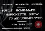 Image of puppet show fundraiser during depression New York United States USA, 1932, second 4 stock footage video 65675037689