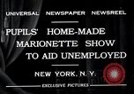 Image of puppet show fundraiser during depression New York United States USA, 1932, second 6 stock footage video 65675037689