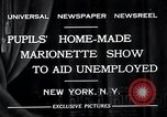 Image of puppet show fundraiser during depression New York United States USA, 1932, second 7 stock footage video 65675037689