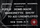 Image of puppet show fundraiser during depression New York United States USA, 1932, second 8 stock footage video 65675037689