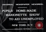 Image of puppet show fundraiser during depression New York United States USA, 1932, second 10 stock footage video 65675037689