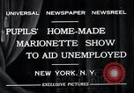 Image of puppet show fundraiser during depression New York United States USA, 1932, second 11 stock footage video 65675037689