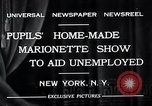Image of puppet show fundraiser during depression New York United States USA, 1932, second 12 stock footage video 65675037689