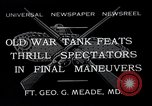 Image of war tanks Fort George G Meade Maryland USA, 1932, second 1 stock footage video 65675037693