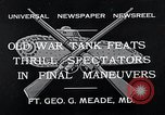 Image of war tanks Fort George G Meade Maryland USA, 1932, second 2 stock footage video 65675037693
