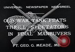 Image of war tanks Fort George G Meade Maryland USA, 1932, second 4 stock footage video 65675037693