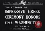 Image of Greek Orthodox ceremony honoring George Washington Valley Forge Pennsylvania USA, 1941, second 1 stock footage video 65675037919