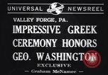 Image of Greek Orthodox ceremony honoring George Washington Valley Forge Pennsylvania USA, 1941, second 3 stock footage video 65675037919