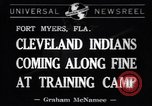 Image of Cleveland Indians baseball team in Spring training Fort Myers Florida USA, 1941, second 1 stock footage video 65675037922