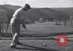 Image of Bing Crosby and Ben Hogan play golf White Sulphur Springs West Virginia USA, 1956, second 3 stock footage video 65675037954