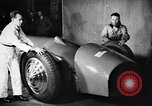 Image of Malcolm Campbell and Bluebird motorcar Brooklands England, 1931, second 6 stock footage video 65675038348