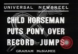 Image of Nine year old boy champion equestrian Wilmington Ohio USA, 1935, second 2 stock footage video 65675038436