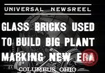Image of Glass block building material at newspaper printing and press company Columbus Ohio USA, 1937, second 9 stock footage video 65675038440