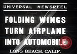Image of aerobile with folding wings Long Beach California USA, 1937, second 2 stock footage video 65675038443