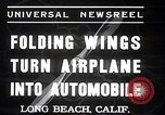 Image of aerobile with folding wings Long Beach California USA, 1937, second 3 stock footage video 65675038443