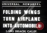 Image of aerobile with folding wings Long Beach California USA, 1937, second 4 stock footage video 65675038443