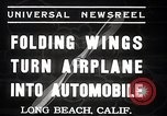 Image of aerobile with folding wings Long Beach California USA, 1937, second 7 stock footage video 65675038443
