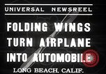 Image of aerobile with folding wings Long Beach California USA, 1937, second 8 stock footage video 65675038443