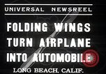 Image of aerobile with folding wings Long Beach California USA, 1937, second 9 stock footage video 65675038443