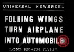 Image of aerobile with folding wings Long Beach California USA, 1937, second 10 stock footage video 65675038443