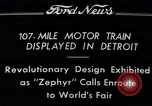Image of Burlington Zephyr Train Detroit Michigan USA, 1934, second 2 stock footage video 65675038948