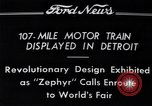 Image of Burlington Zephyr Train Detroit Michigan USA, 1934, second 6 stock footage video 65675038948
