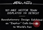 Image of Burlington Zephyr Train Detroit Michigan USA, 1934, second 8 stock footage video 65675038948