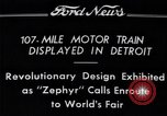 Image of Burlington Zephyr Train Detroit Michigan USA, 1934, second 10 stock footage video 65675038948