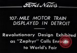 Image of Burlington Zephyr Train Detroit Michigan USA, 1934, second 12 stock footage video 65675038948