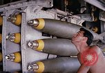 Image of airman near bomb bay of B-52 D bomber Thailand, 1969, second 6 stock footage video 65675039076