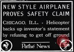 Image of failed ornithopter helicopter trying to fly Chicago Illinois USA, 1925, second 1 stock footage video 65675039280