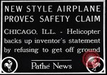 Image of failed ornithopter helicopter trying to fly Chicago Illinois USA, 1925, second 2 stock footage video 65675039280