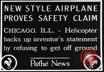 Image of failed ornithopter helicopter trying to fly Chicago Illinois USA, 1925, second 5 stock footage video 65675039280