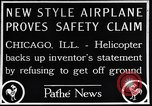 Image of failed ornithopter helicopter trying to fly Chicago Illinois USA, 1925, second 10 stock footage video 65675039280