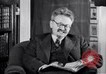 Image of Leon Trotsky commenting about Europe and the USA Copenhagen, 1932, second 4 stock footage video 65675039586