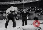 Image of Basque country stone lifting competition Spain., 1957, second 12 stock footage video 65675040128