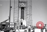 Image of rocket in the launching stand Cocoa Florida USA, 1950, second 10 stock footage video 65675040239